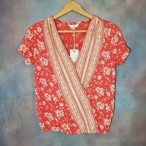 Lucky Brand Flower Coral Short Sleeve Top